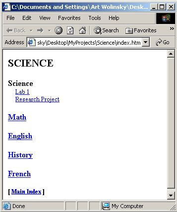 Science index page screen shot